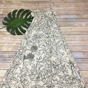 Rachel Pally cream & black floral maxi dress